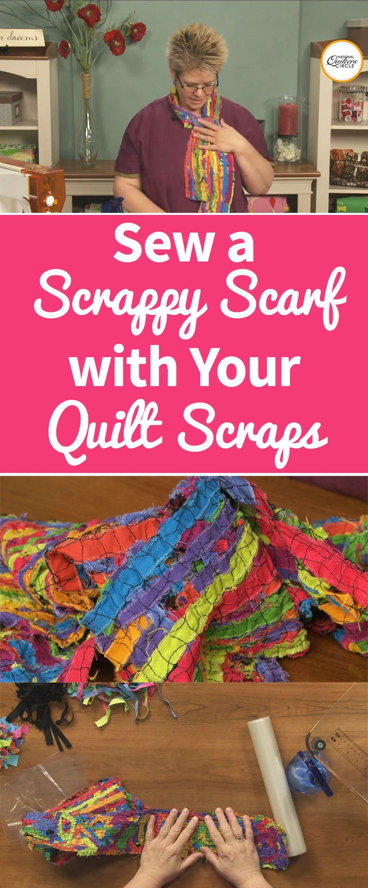 A scrappy scarf is not only a great way to use up small leftover pieces of fabric, but it makes for a great accessory too. Heather Thomas shows you how to make a scrappy scarf by stitching together layers of fabric bits sandwiched between stabilizer.