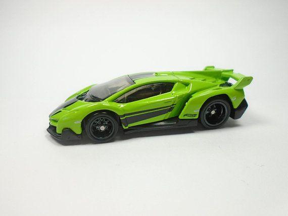 Hot Wheels Lamborghini Veneno Lime Green Realriders W Real Rubber Tires Diecast Toy Car Custom By Jo Hot Wheels Hot Wheels Cars Toys Hot Wheels Garage