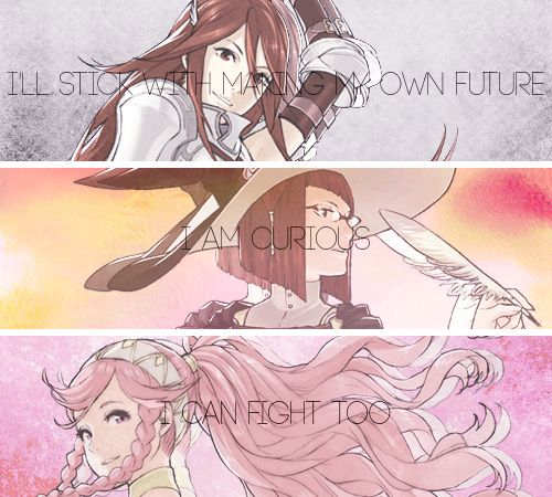 Fire Emblem Awakening, Cordelia, Miriel and Olivia. True female strength is shown in this game, I absolutely adore it. The feminist in my screams with delight! ❤️ (I married Cordelia in one of my playthroughs, by far my favourite wife XD!)