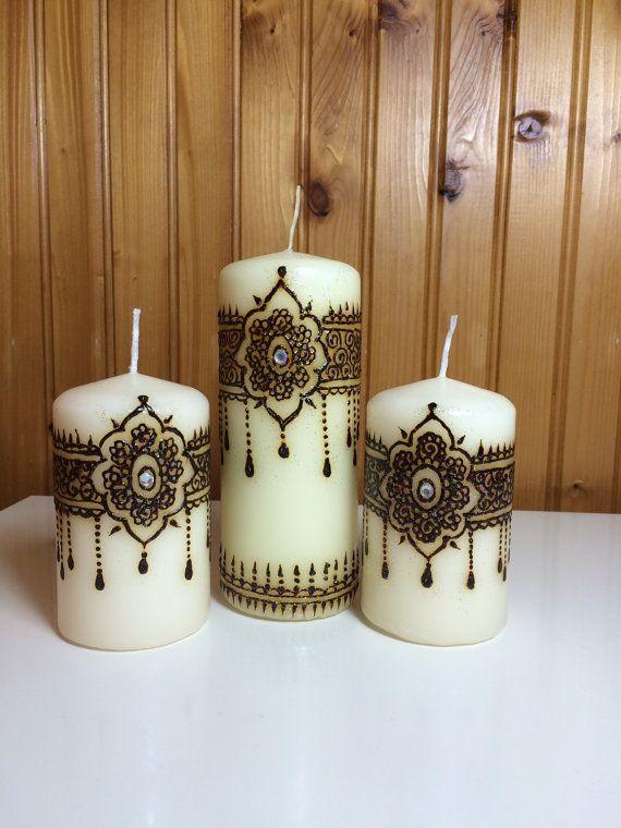 juego de vela henna de 3 - Velas Decoradas