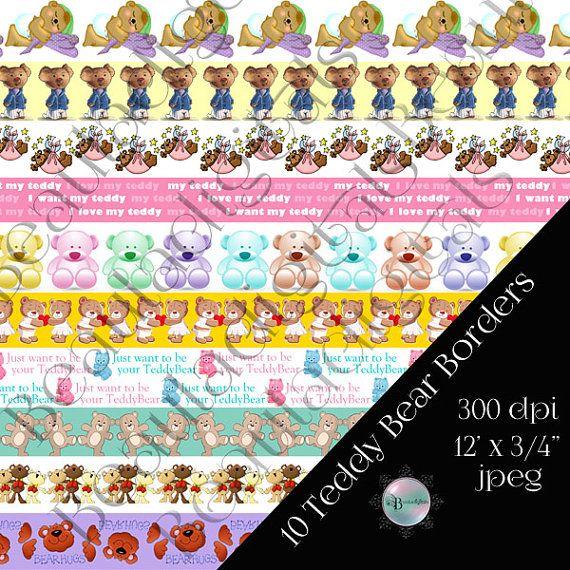 10 Teddy Bear Digital Borders  12 x 3/4 size by Beauladigitals