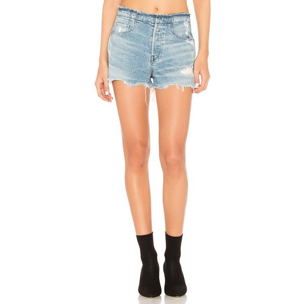 3x1 Stripped Shelter Short ($240) ❤ liked on Polyvore featuring shorts, jean shorts, torn shorts, ripped shorts, ripped short shorts, short denim shorts and destroyed shorts