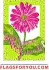 Pink Daisy Welcome Garden Flag