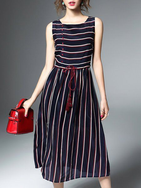 5ef2baa99c99c Shop Midi Dresses - Black Casual Stripes A-line Midi Dress online. Discover  unique designers fashion at StyleWe.com. #uniquewomensdresses