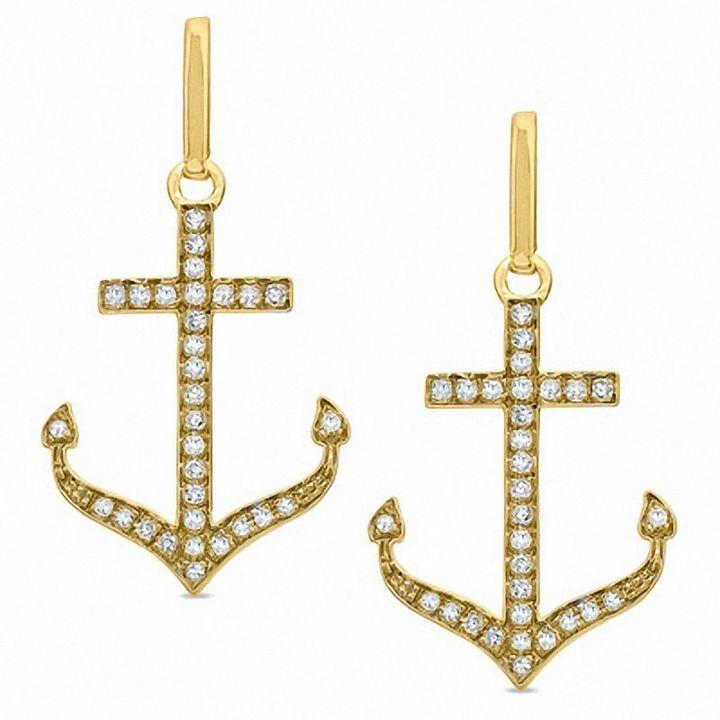 Zales 1/5 CT. T.W. Diamond Anchor Earrings in 10K Gold