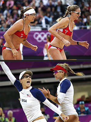 US Volleyball Players Misty May-Treanor & Kerri Walsh Jennings Prepare for Third Gold vs Fellow US Volleyball Players Jen Kessy & April Ross