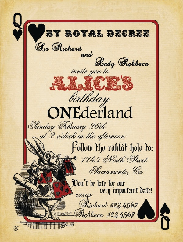 Playing Card Alice In Wonderland Invitation Bridal Shower Or