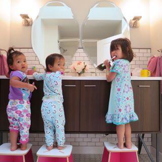 Instagram photo by benjimanfood - The girls love their new bathroom! @christianelemieux :)