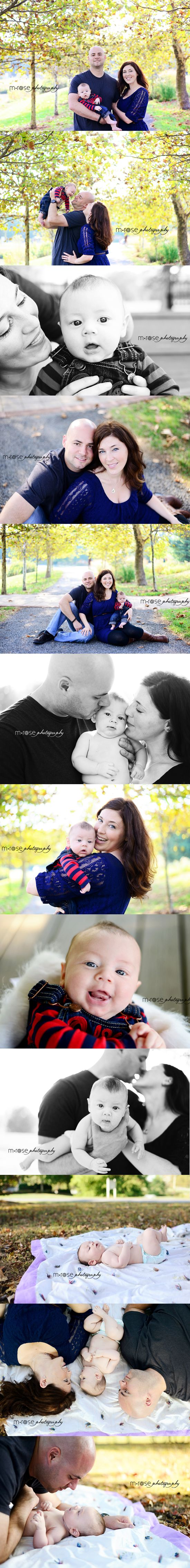 Family of 3 photos. Three-month old family shoot. Fall family photos | M Rose Photography