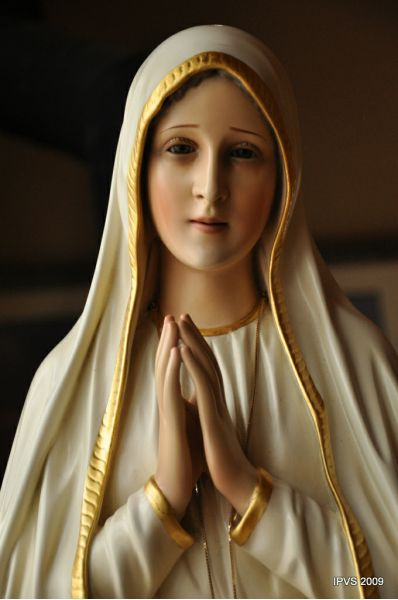 Our Lady of Fatima, depicted just as visionary Lucia Santos said: beautiful, yet sad