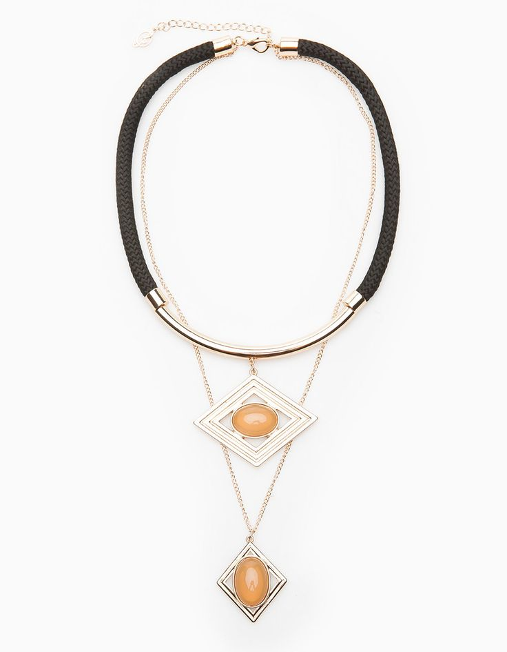 Colar geométrico com pedra - COLARES - MULHER   Stradivarius Portugal