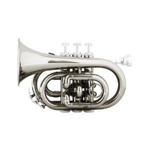 Cecilio 2Series PT-280N Nickel Plated B Flat Pocket Trumpet + Hard Case, Mouthpiece and Accessories