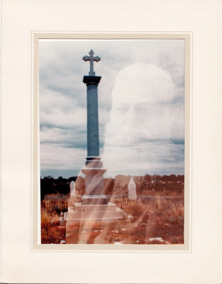 Thomas Andrew Mathews reflection over the monument he had erected for his wife Mary. Tom is also buried here with his four wives & baby son in Louth Private Cemetery, Louth. NSW.