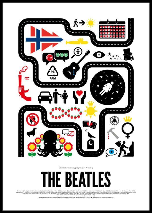 Classic Rock Songs Transformed Into Infographics [Pics] - PSFK Graphic designer Viktor Hertz designed a series of minimalist posters that represent the songs of some of the greatest musicians, including The Beatles and Bob Dylan. Hertz's 'Pictogram Rock Posters' feature simplistic images that correspond to lyrics and song titles