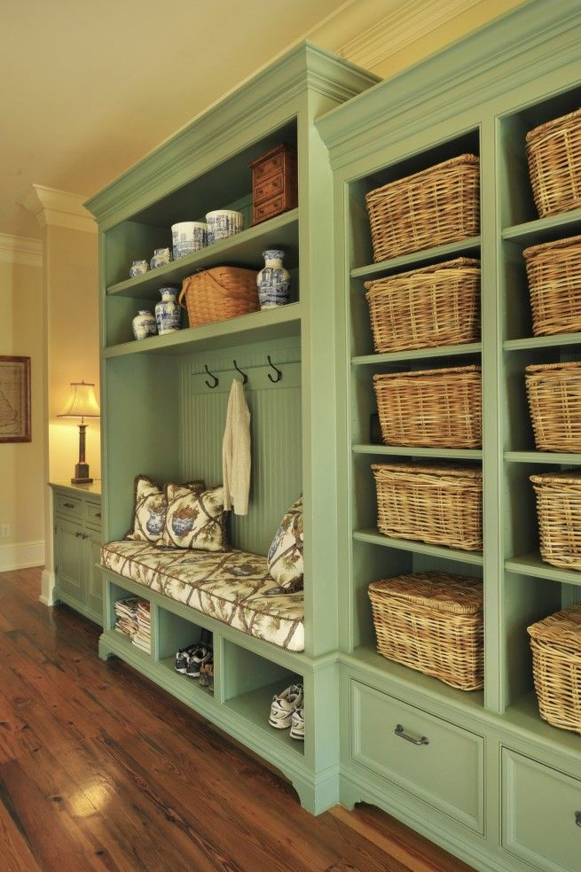 Mark Simmons Interiors, love the color and huge storage area in this mudroom!