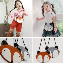 Wholesale 2 Color children Fashion cartoon fox wallet new girl cute fox bag fox purse Handbag wallet Cm