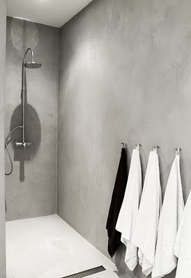 concrete bathroom everywhere + Hooks for each - sounds great but how do you clean it???