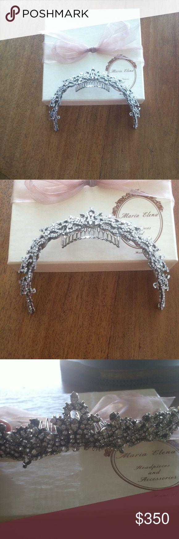 Maria Elena Bridal Tiara Brand new, never worn bridal tiara by Maria Elena. Gorgeous piece for your special occasion. I originally purchased it from Pebbles Bridal shop in Woodland Hills. It's got an antique, vintage look to it, absolutely stunning. Crystals are Swarovski. maria elena Accessories Hair Accessories