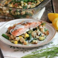Lemon Dill Salmon Over Summer Vegetable Stuffing