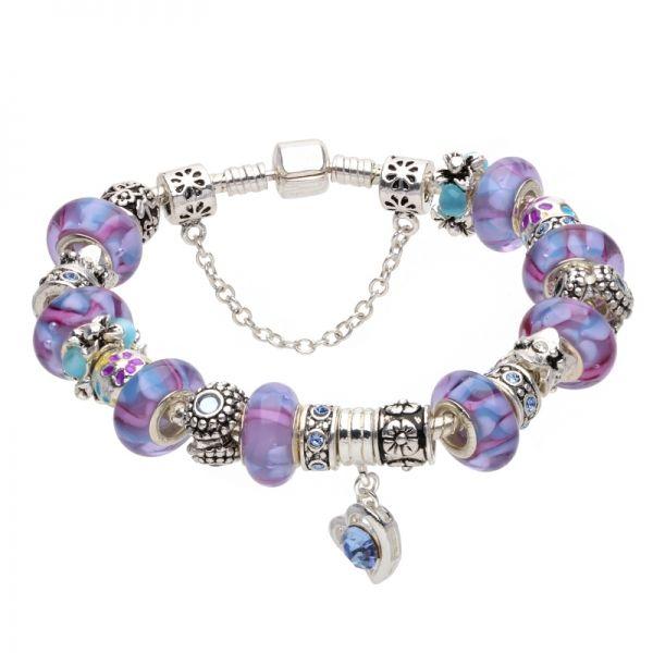 Bratara dama Purple Murano Pandora Style AS11
