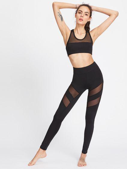 Top corto de malla transparente con leggings - negro