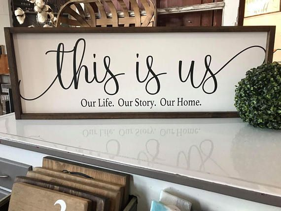 Farmhouse Framed Style This is us our life. Our story. Our home #rustic #sign #blessthismess #homemade #diy #farmhousestyle #farmhouse #rusticdecor #shelf #floatingshelf #framedsign #affiliate