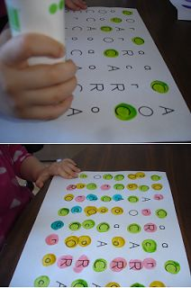 Letter recognition - dab each letter a different colour - match upper and lower case together