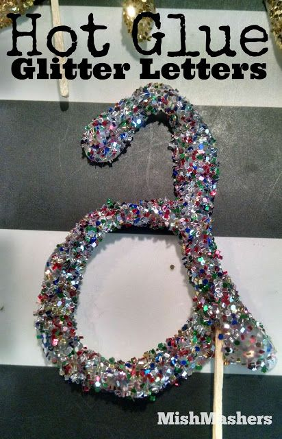 Glittered Letters - Ornaments, Gift Tags, Cake Toppers - Hot Glue and Glittered!