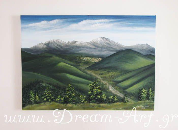Μικρό χωριό Ευρυτανίας, ζωγραφική σε καμβά