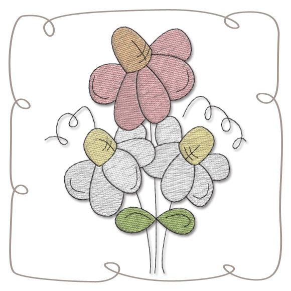Flowers machine Embroidery Design Pattern-INSTANT DOWNLOAD