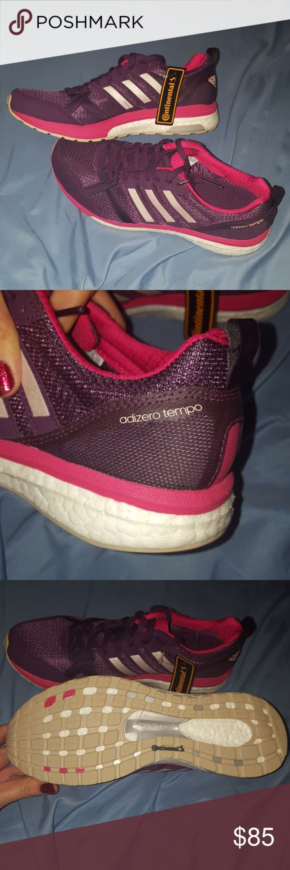Adidas adizero tempo boost running shoes Womens size 9 brand new never worn with tag no box purple pink and white adidas Shoes Athletic Shoes