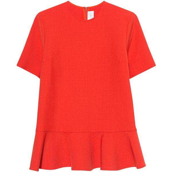 VICTORIA, VICTORIA BECKHAM Sponge Wool Orange // Short sleeved top... (20.655 RUB) ❤ liked on Polyvore featuring tops, peplum tops, zip peplum top, flared top, red top and short sleeve peplum top