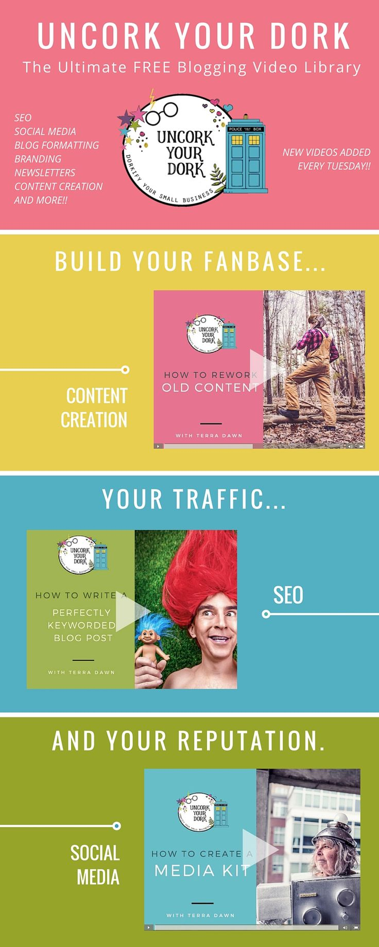 Check out this free traffic building video library for bloggers! Terra Dawn at Uncork Your Dork covers SEO, Content Creation, Traffic Building, Social Media, and more!