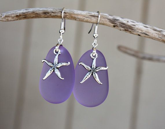 Purple Sea Glass Earrings Star Fish Starfish Earrings Seaglass Earrings Starfish…