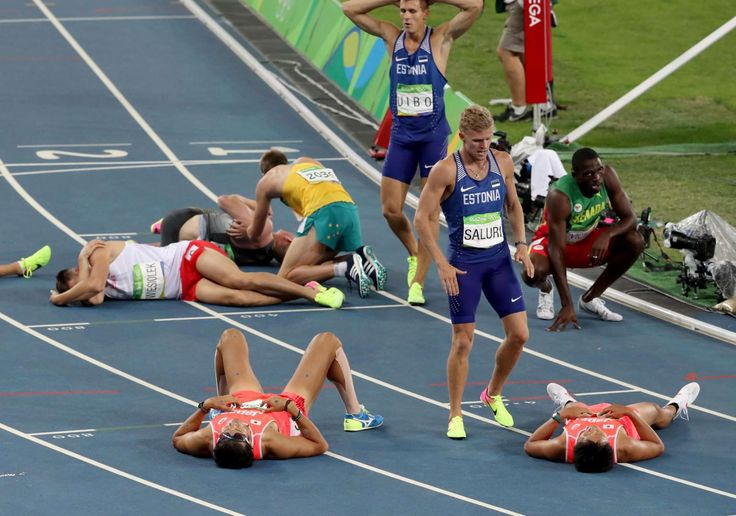 Maicel Zibo (EST) and Karl Robert Saluri (EST) are the only runners to remain standing at the completion of the men's decathlon 1500m event at Estadio Olimpico Joao Havelange during the Rio 2016 Olympic Summer Games.