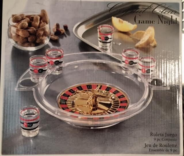 Drinking Game Shot Glass Roulette Game Night 9 Piece Set New In Box  #CRYSTALCLEARGAMENIGHT #ANY