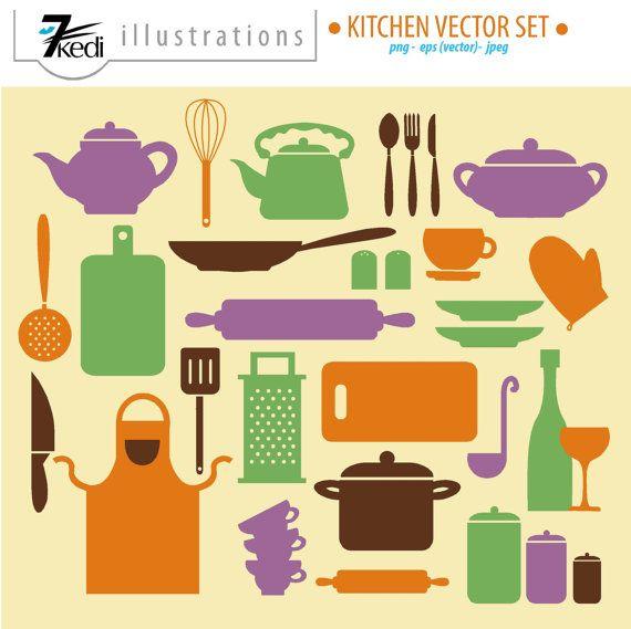 Vector Kitchen Set, Kitchen Clip Art, kitchen graphics