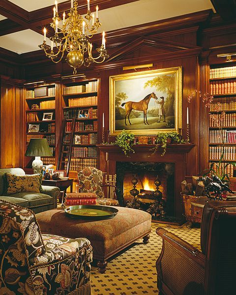Dream home libraries with vintage art, furniture -- and, sometimes, fireplaces!