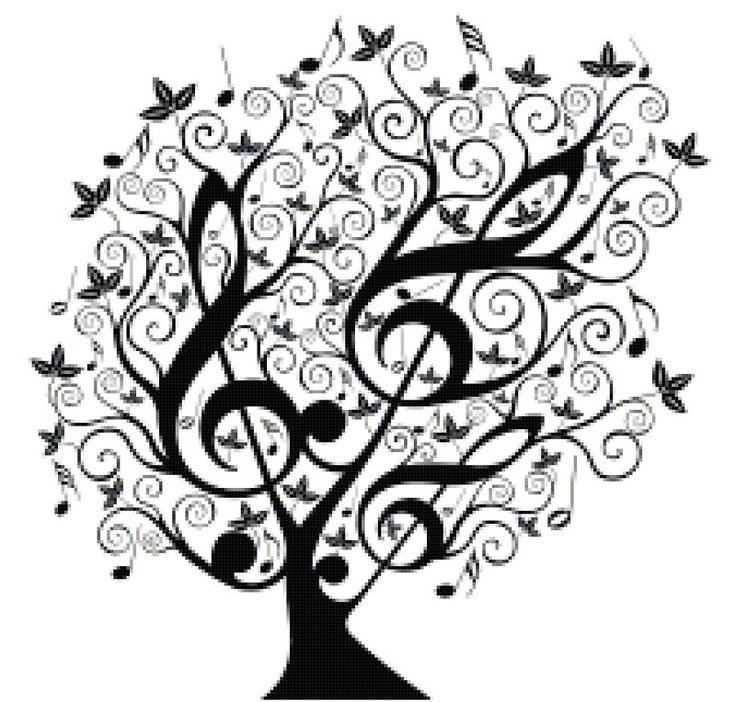 Music Counted Cross Stitch Pattern Design Black and White Treble