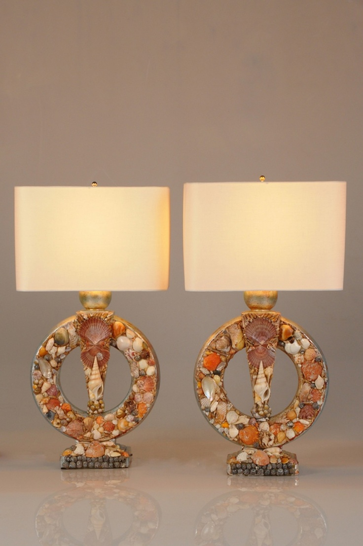 Glass mermaid sitting on conch shell accent lamp eclectic table lamps - Seashell Filled Lamps