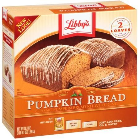Libby's Pumpkin Bread Kit, 56.1 oz. 5$ makes 3 8 x 4 loaves. 30 slices. Easy and reliable bread. Moist. Stronger in ginger than cinnamon.