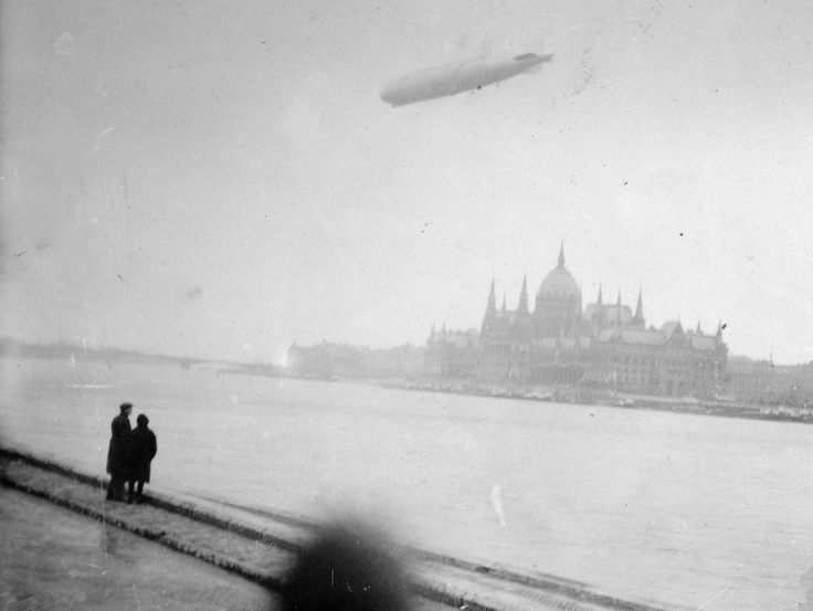 LZ 127 Graf Zeppelin above Budapest, Hungary in 1931.