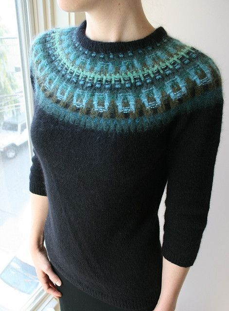 Bohus Stickning inspired sweater, using centuries old Swedish knit techniques.