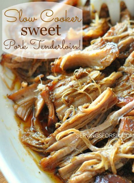 crockpot pork tenderloin - 1 pork tenderloin, 1/3 cup brown sugar, 3