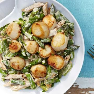 Scallop & Asparagus Alfredo:- Healthy Pasta Recipes for People with Diabetes