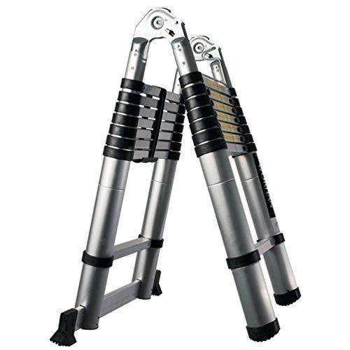 WORHAN® Echelle 5m Télescopique Aluminium Anodisé Modulable Pliable Polyvalente Escabeau Solide 500cm (5m C-Line) K5C: Hauteur: 500cm.…