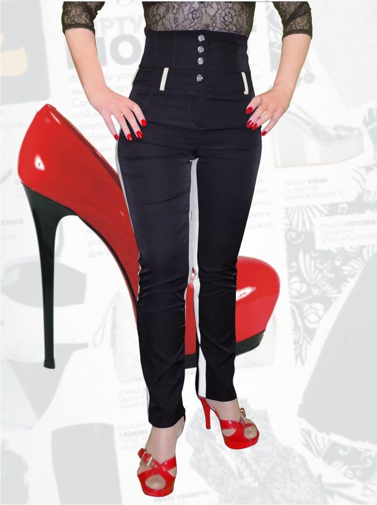 57$ Узкие брюки для полных девушек с завышенной талией вид в полный рост Артикул 640, р50-64 Брюки с завышенной талией большие размеры  Брюки деловые большие размеры  Брюки офисные большие размеры  Брюки черные большие размеры Брюки черные большие размеры