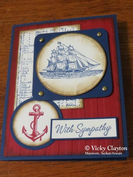 With Sympathy by mum2twinboys13 - Cards and Paper Crafts at Splitcoaststampers. Paper: Stampin Up Night of Navy, Cherry Cobbler Paper Size: A2 Card Size Ink: Stampin Up Night of Navy, Cherry Cobbler, Soft Suede Accessories: Spellbinder Nestabilities Circles, Brass Brads Techniques: Stampin Up Stripes embossing folder  Read more: http://www.splitcoaststampers.com/gallery/photo/2526175#ixzz344Cpjowy