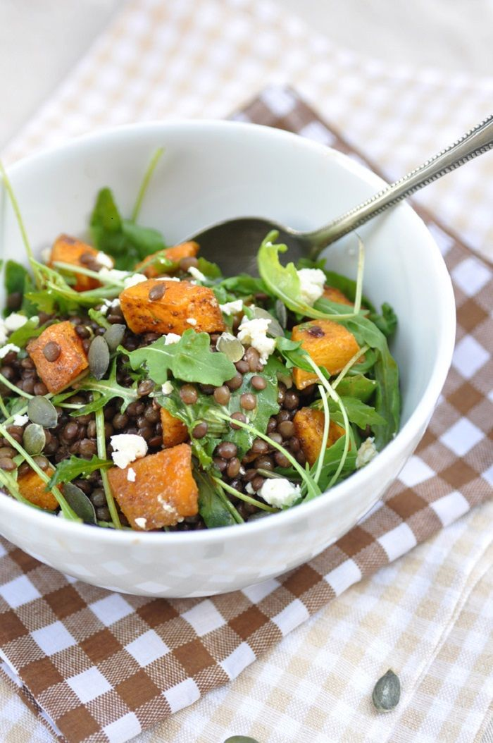Stay Fit and Healthy with these Delicious Winter Salads , Lentil Pumpkin Salad with Arugula and Feta