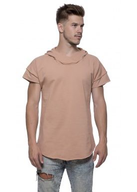 Short sleeve hoody camel